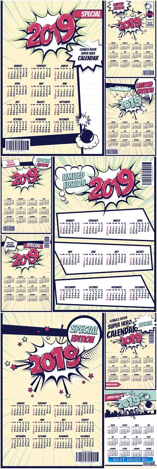 2019 retro comic book vector calendar