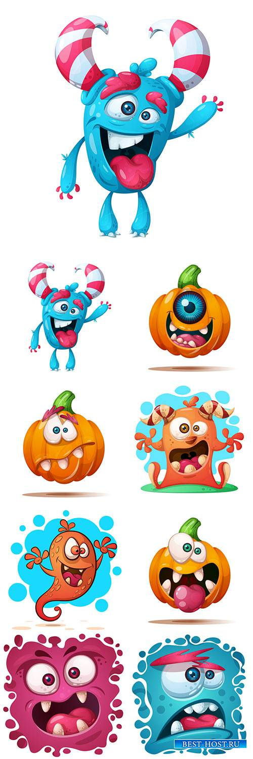 Cute crazy pumpkin and monster characters, Halloween vector illustration