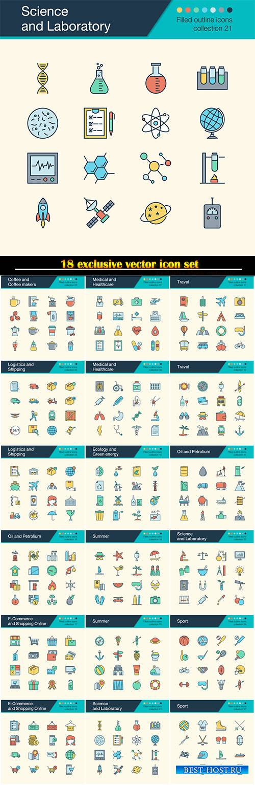 Icons vector set, or presentation, graphic design, mobile application, web  ...