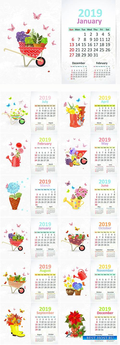Calendar for 2019 year vector illustration, lovely gardening