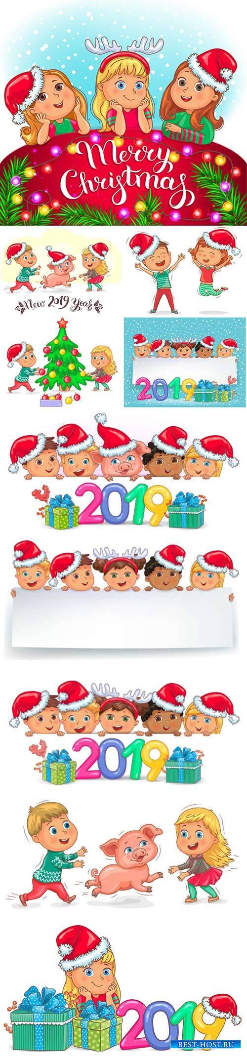 Cute kids and little piggy new year 2019