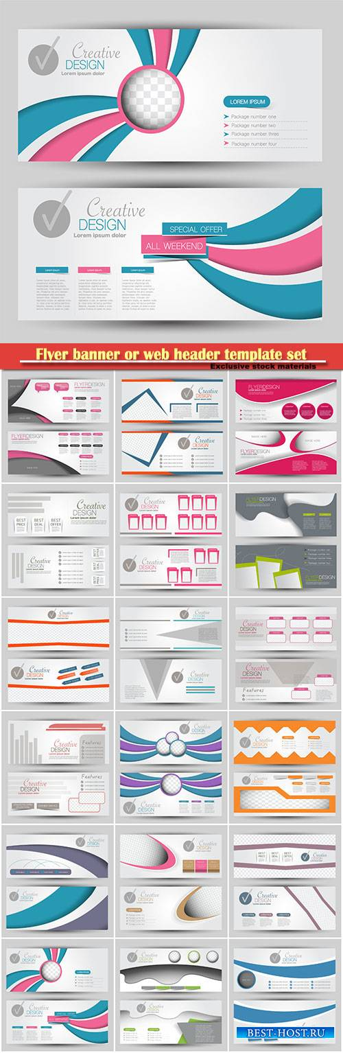 Flyer banner or web header template vector set # 2