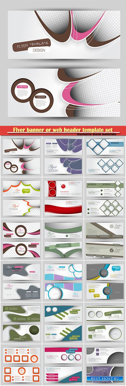 Flyer banner or web header template vector set