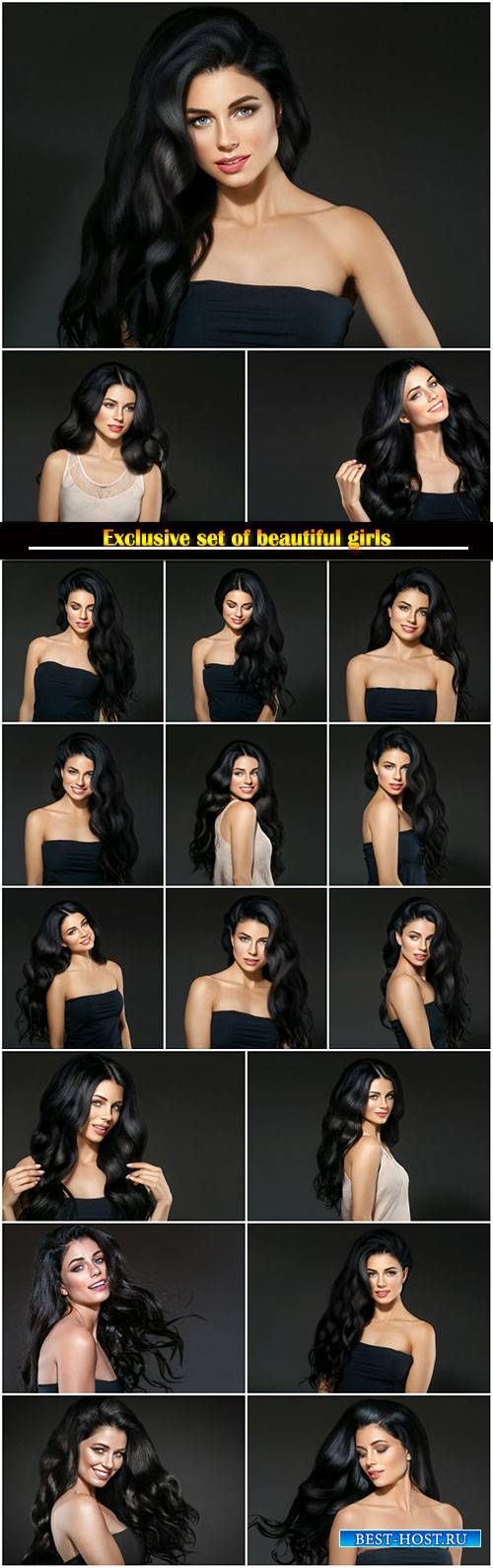 Beautiful black hair woman beauty portrait, female beauty portrait