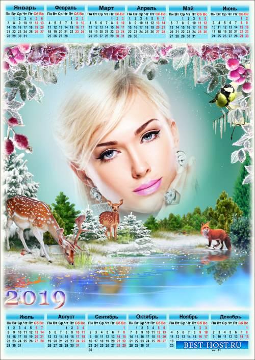 Календарь на 2019 год - Холодом зима подула, заковала речку льдом