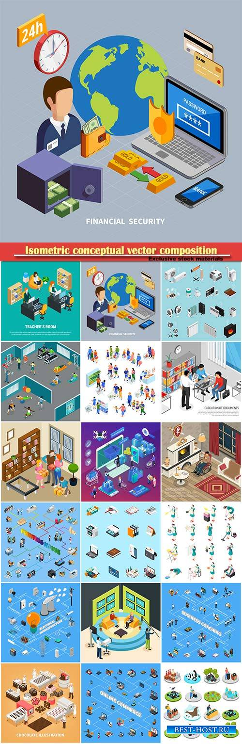 Isometric conceptual vector composition, infographics template # 38