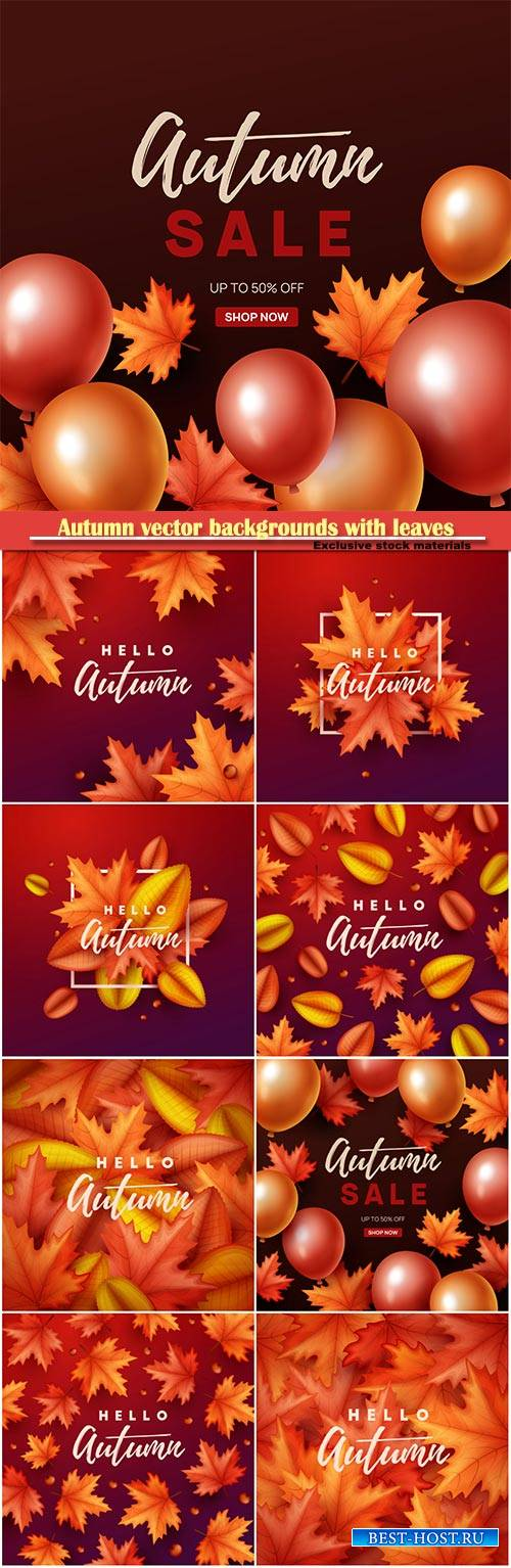 Autumn vector backgrounds with leaves and balloons