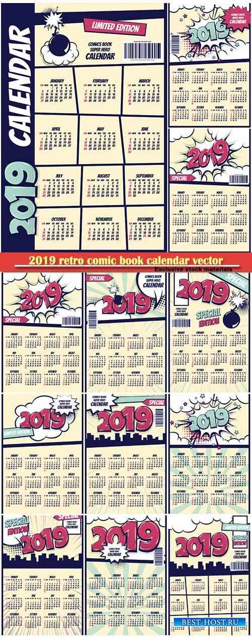 2019 retro comic book calendar vector illustration