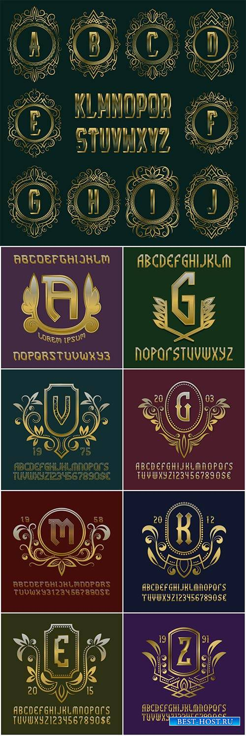 Set of golden vector monograms, luxurious alphabet and logo design elements