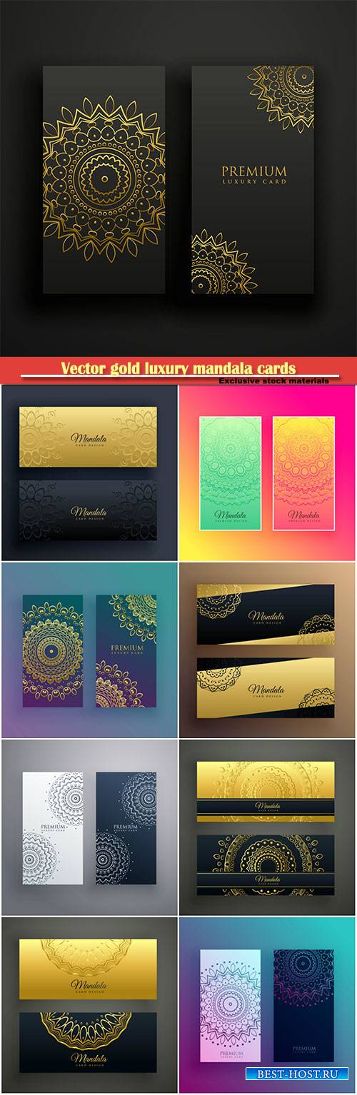 Vector gold luxury mandala cards