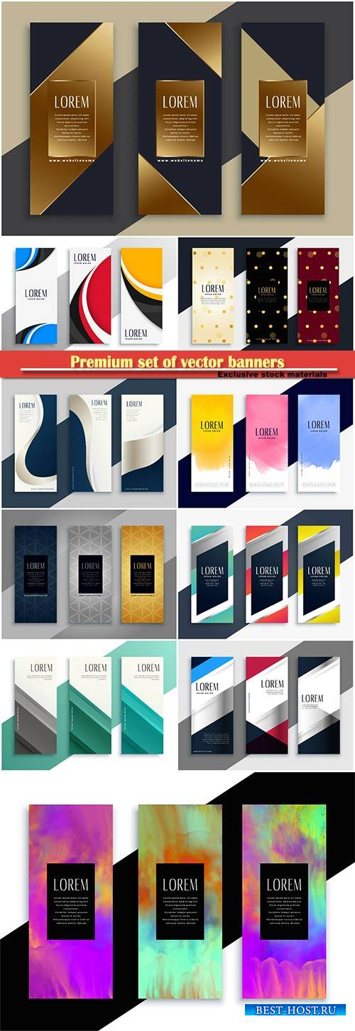 Premium set of vector geometric banners