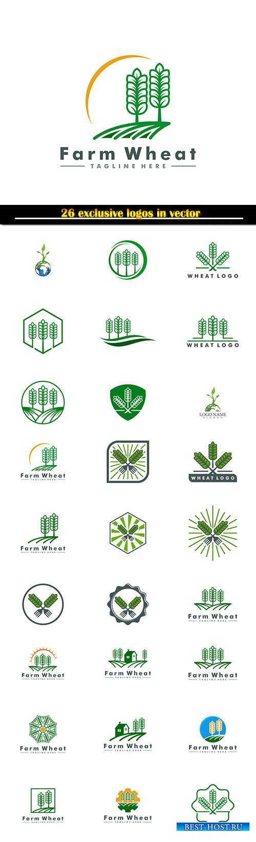 Logo agryculture vector illustration template, fresh food icon symbol
