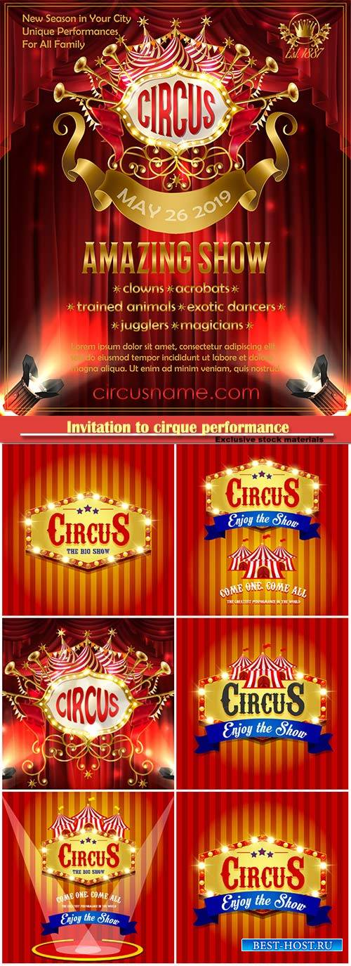 Vector advertising poster for circus amazing show, invitation to cirque per ...