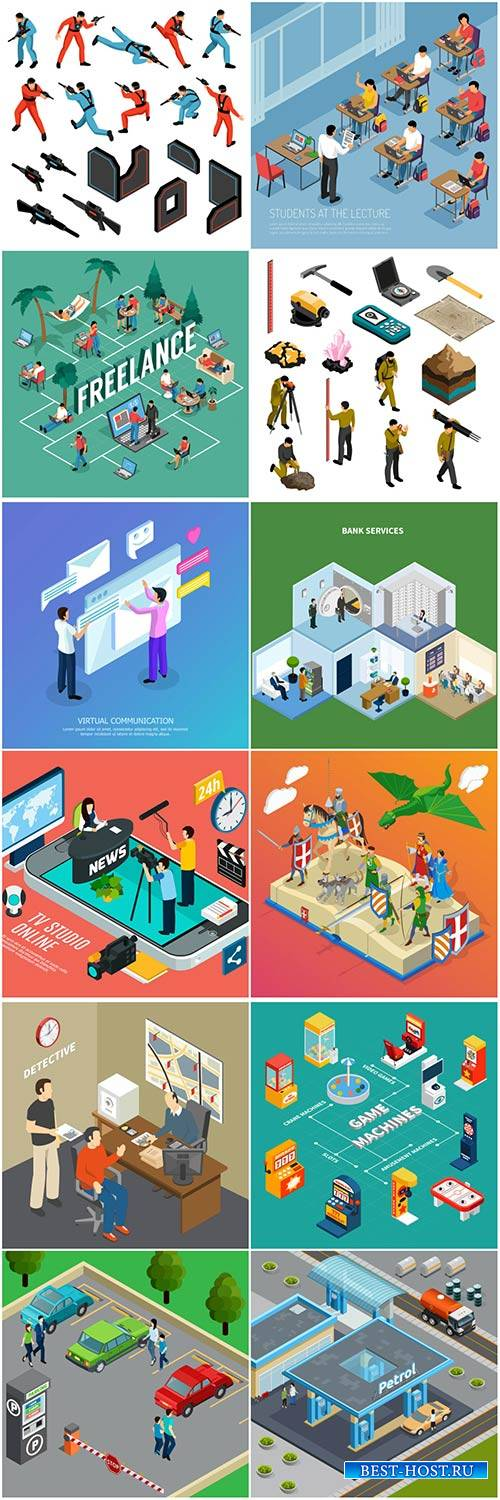 Isometric conceptual vector composition, infographics template # 49
