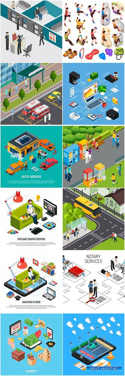 Isometric conceptual vector composition, infographics template # 45