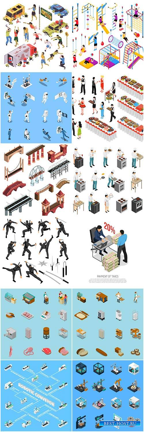 Isometric conceptual vector composition, infographics template # 44