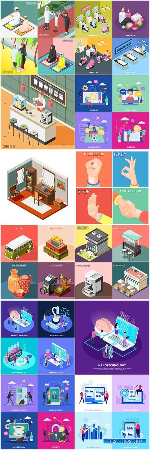 Isometric conceptual vector composition, infographics template # 47