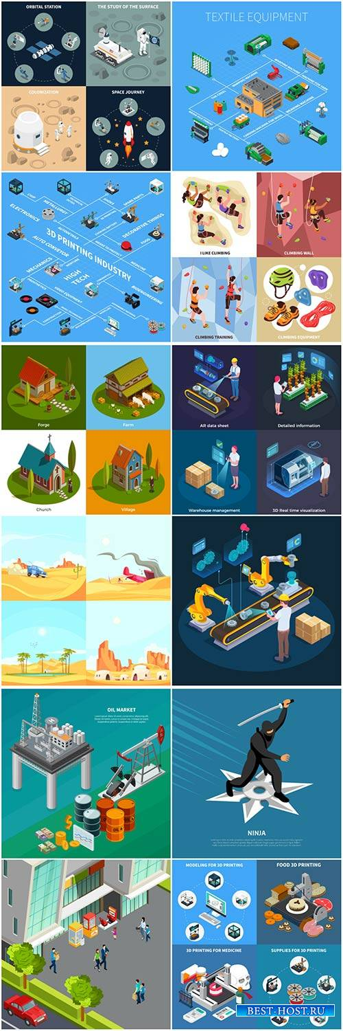 Isometric conceptual vector composition, infographics template # 46