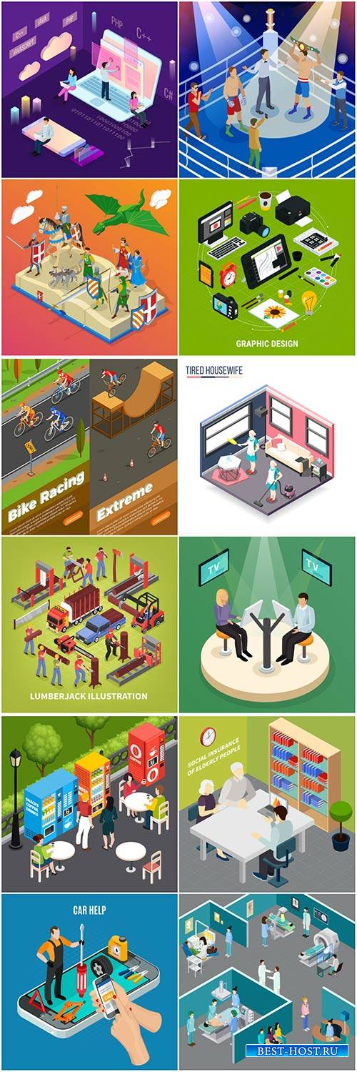 Isometric conceptual vector composition, infographics template # 42