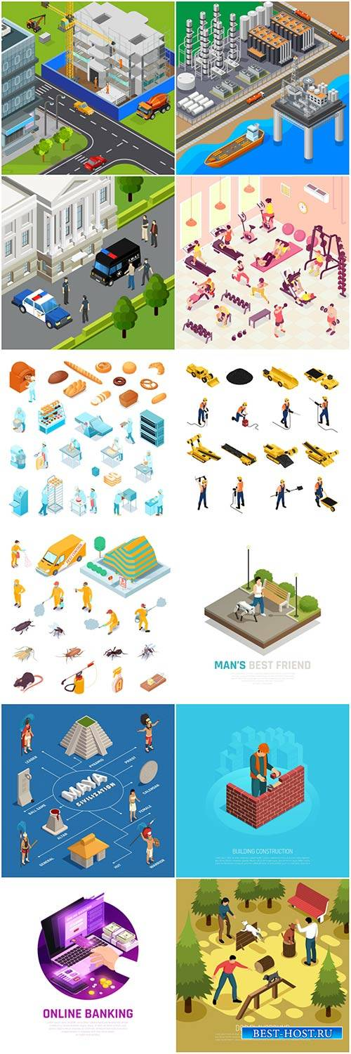 Isometric conceptual vector composition, infographics template # 43