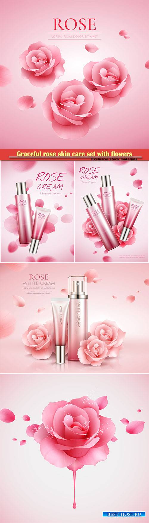 Graceful rose skin care set with flowers and flying petals in 3d illustrati ...