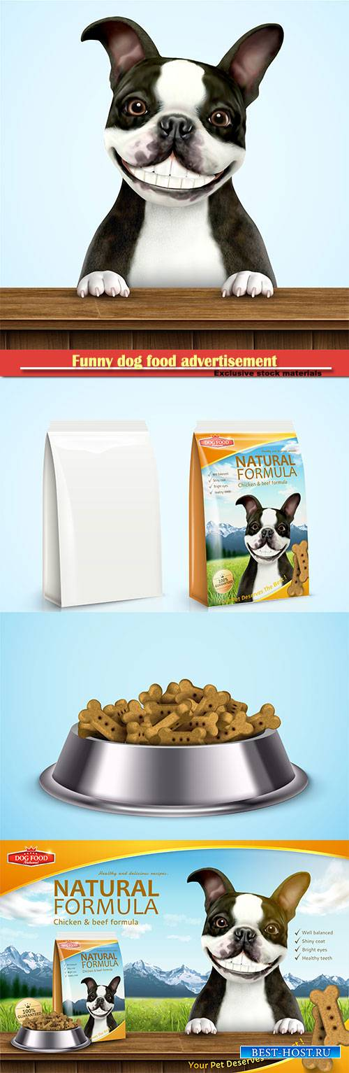 Funny dog food advertisement in 3d vector illustration