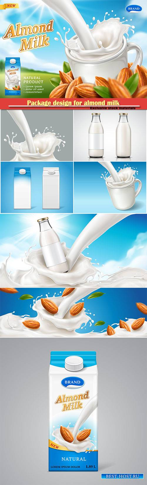 Package design for almond milk or vegan drink, meal advertising theme