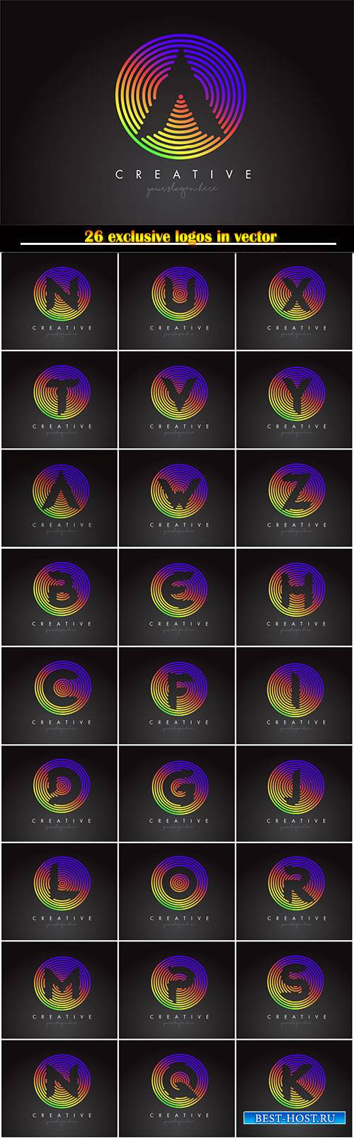 Letter logo design with colorful rainbow circular shapes, vector illustrati ...