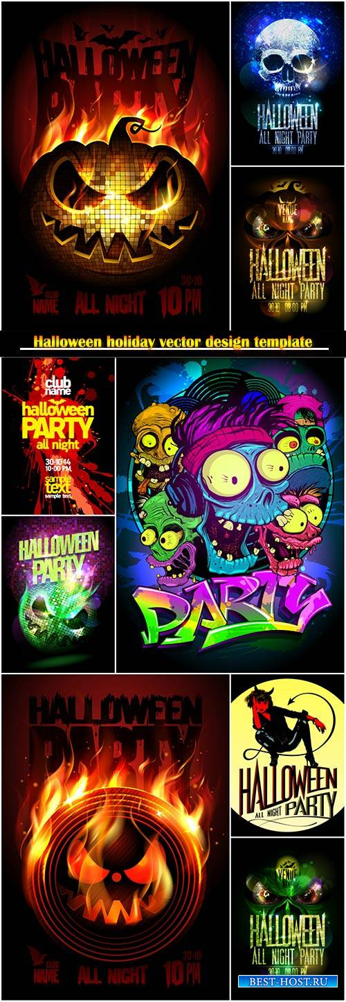 Halloween holiday vector design template # 3