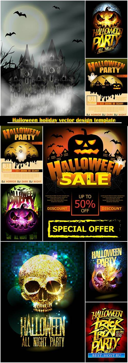 Halloween holiday vector design template # 4