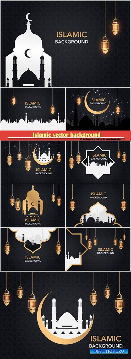 Islamic vector background set