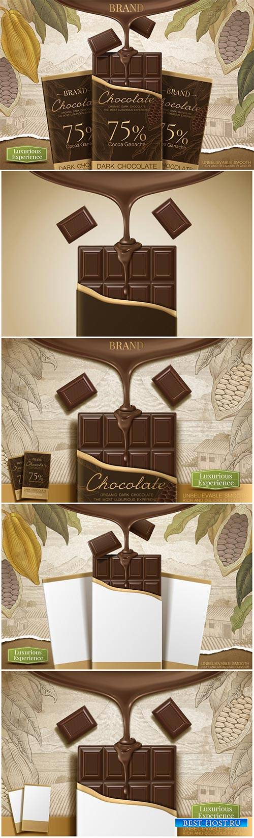 Dark chocolate ads with 3d vector illustration product