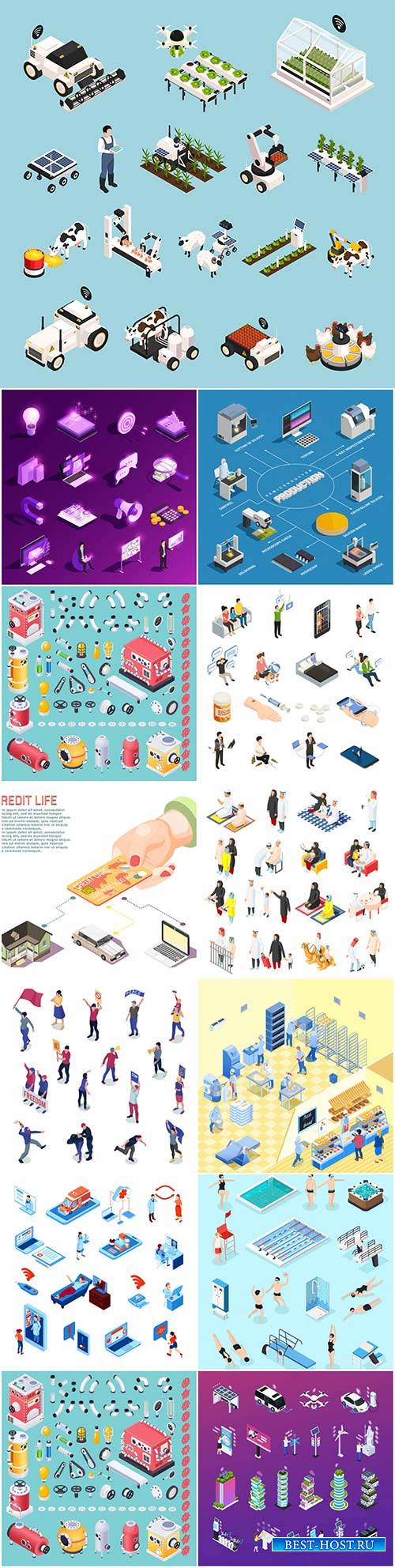 Isometric conceptual vector composition, infographics template # 56
