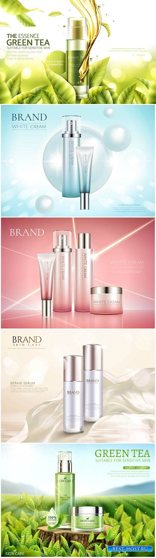 Cosmetic product set in 3d vector illustration