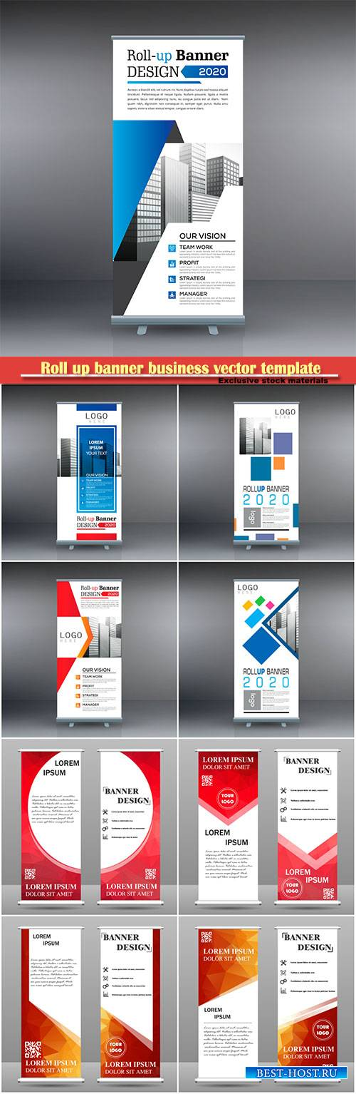 Roll up banner business vector template