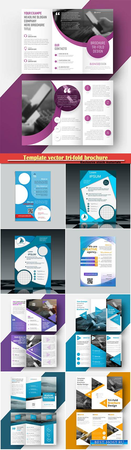 Template vector tri-fold brochure with a place for photo