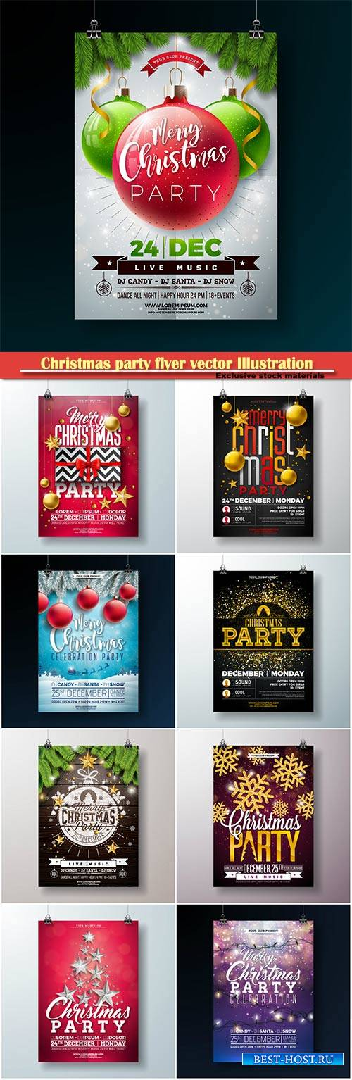 Christmas party flyer vector Illustration, New Year 2019