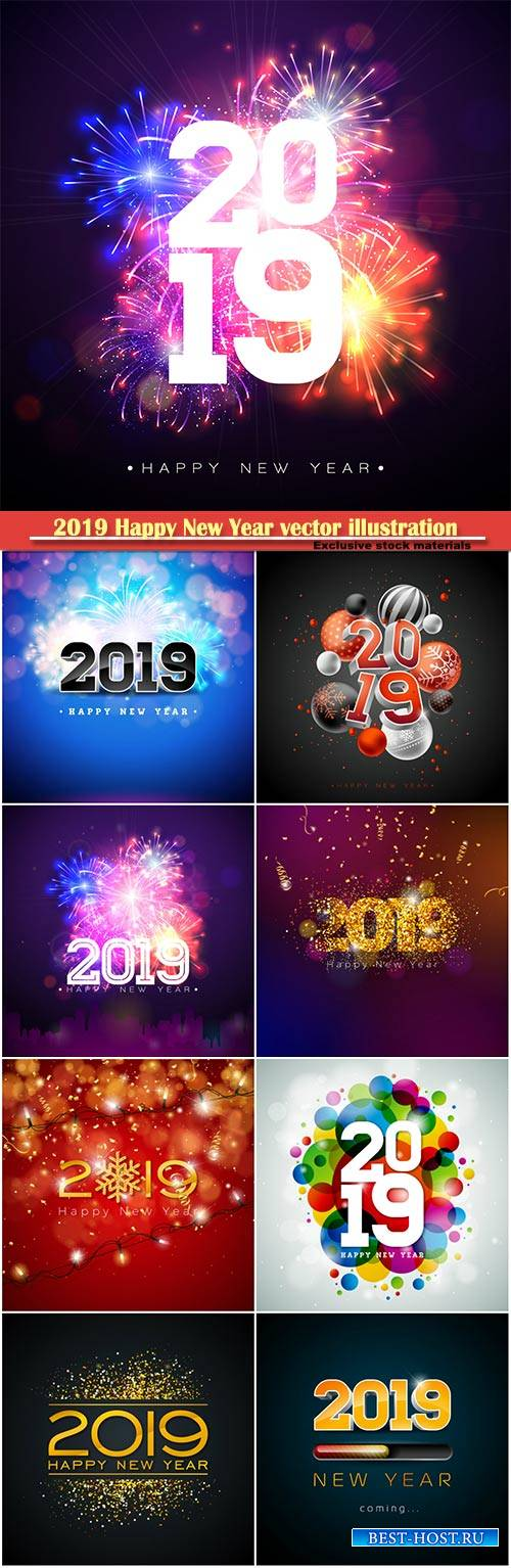 2019 Happy New Year vector illustration with 3d number, party invitation or ...