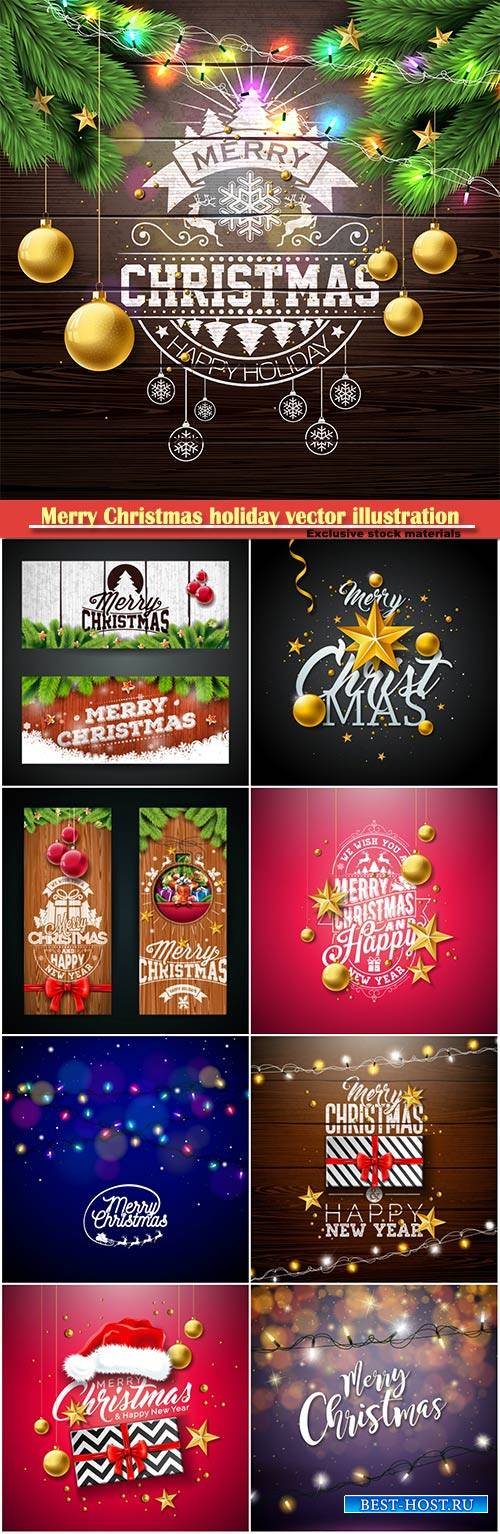 Merry Christmas holiday vector illustration
