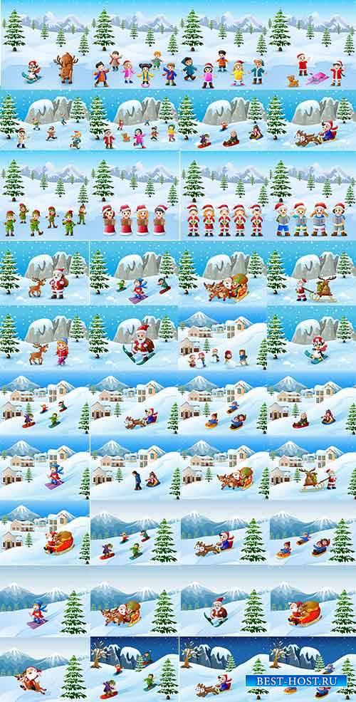 Зимние забавы - Векторный клипарт / Winter fun - Vector Graphics