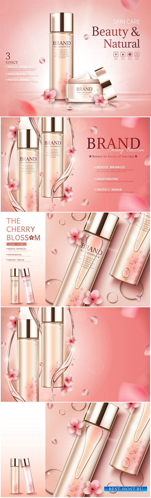 Cherry blossom skin care ads with swirl essence and petals in 3d vector ill ...