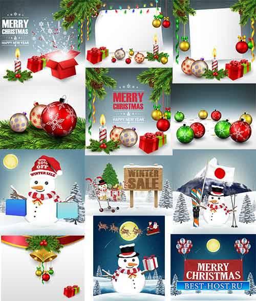 Новогодние фоны - 3 - Векторный клипарт / Christmas backgrounds -3 - Vector ...