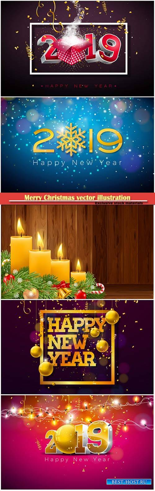 2019 Happy New Year illustration with 3d gold number