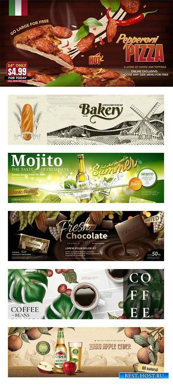 Food banner vector ads in 3d illustration