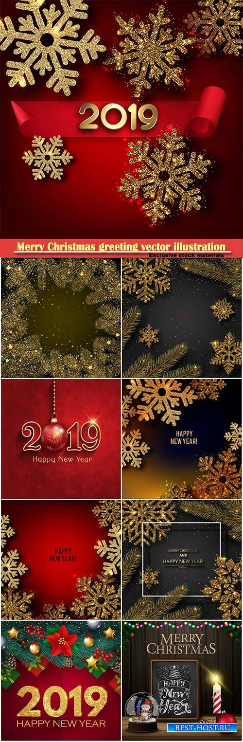 Merry Christmas greeting vector illustration with golden snowflakes