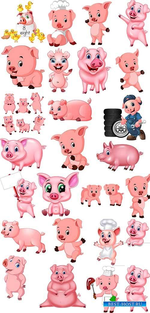 Символ 2019 года - Свинья в векторе / Symbol of 2019 - Pig in vector