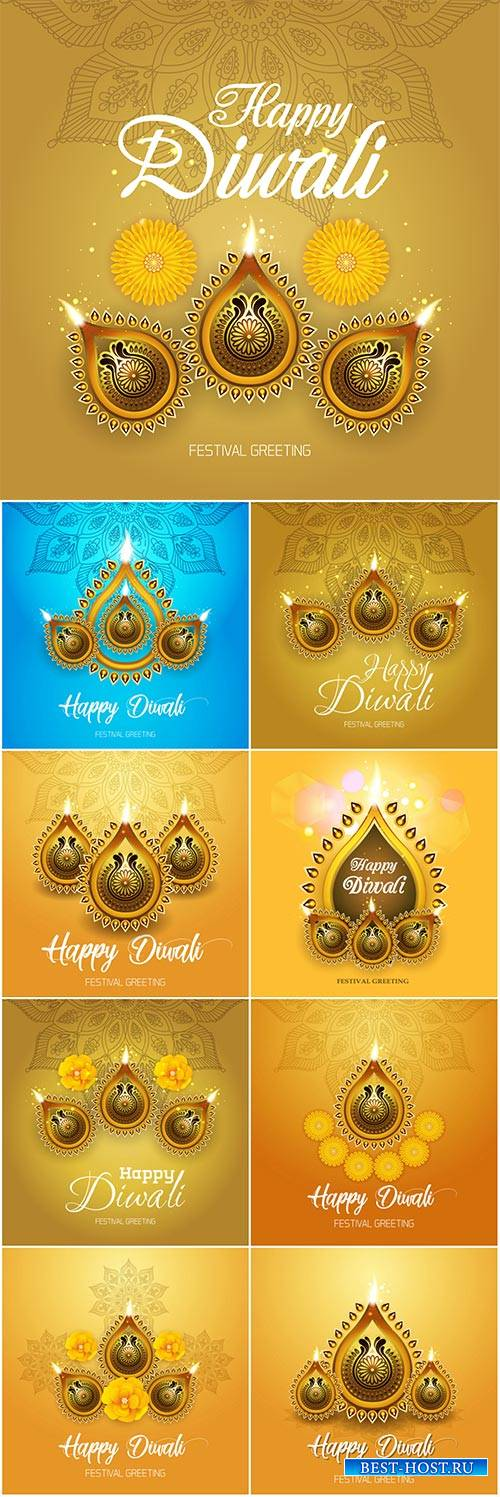 Happy Diwali colorful vector background with oil lamp