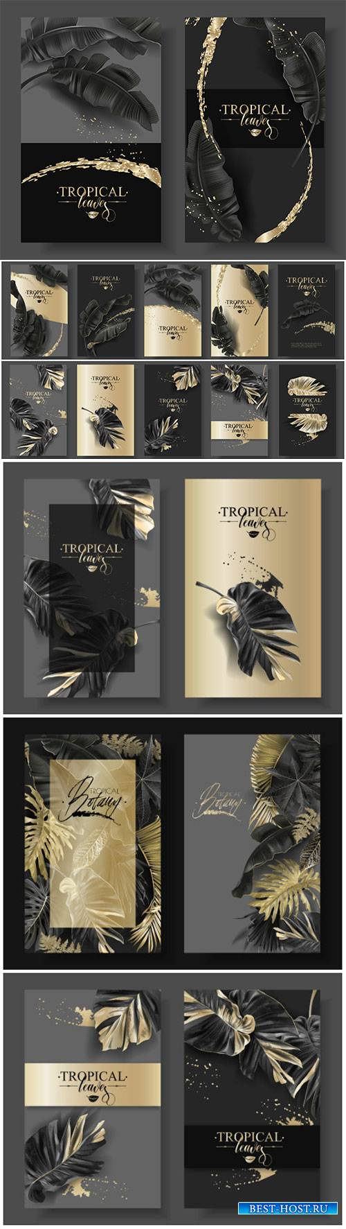 Vector banners with black gold tropical leaves and splashes, luxury exotic  ...