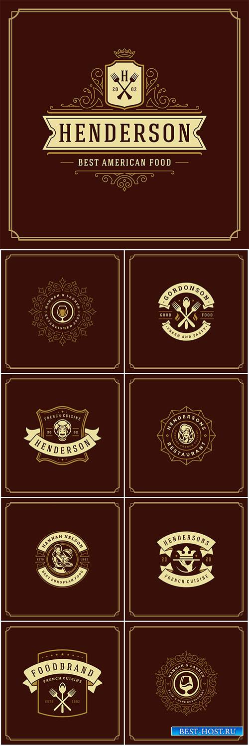 Restaurant logo design vector illustration, restaurant menu and cafe badge