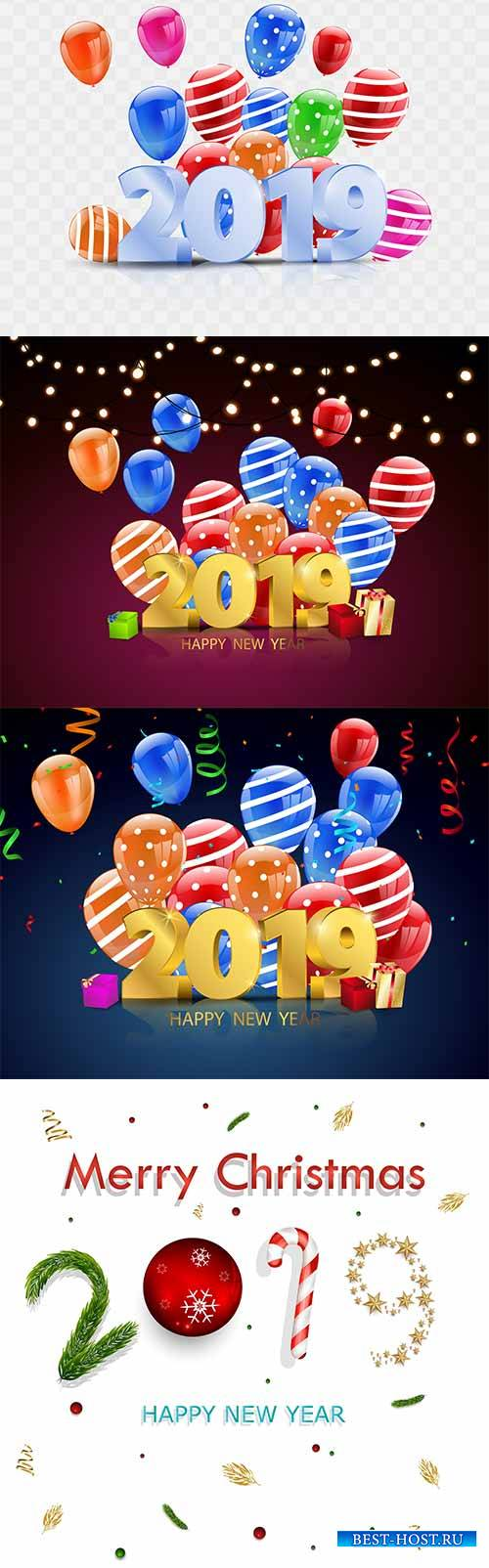 Новый Год - 2019 - Векторный клипарт / New Year - 2019 - Vector Graphics